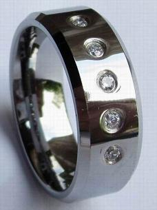 tungsten rings with CZ stone